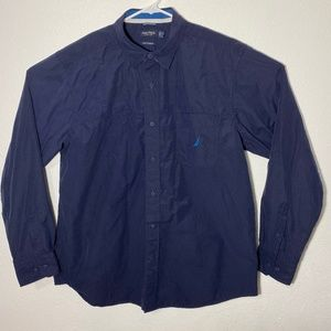 Nautica Mens XL Solid Blue LS Button Up Shirt